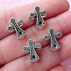 Silver Cross Beads (4pcs / 12mm x 14mm / Tibetan Silver / 2 Sided) Focal Beads Slider Bead Religious Christian Catholic Jewelry CHM1781