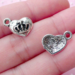Silver Heart with Crown Charms Heart Tag Charm (10pcs / 14mm x 11mm / Tibetan Silver) Kawaii Princess Jewelry Sweet 16 Favor Charm CHM1763
