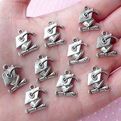 CLEARANCE Graduation Charms Hat and Diploma Charm Grad Cap & Scroll Charm (10pcs / 15mm x 17mm / Tibetan Silver) Gift Decoration Favor Charm CHM1768