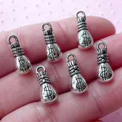 3D Cash Bag Charms Money Pouch Charm Coin Purse Charm (6pcs / 6mm x 15mm / Tibetan Silver / 2 Sided) Dollar Wealth Wealthy Charm CHM1775