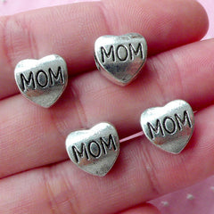 Mom Heart Beads (4pcs / 10mm x 11mm / Tibetan Silver / 2 Sided) Large Big Hole European Bead Slider Focal Bead Mothers Day Jewelry CHM1780
