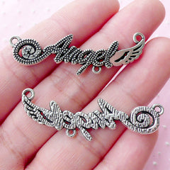 Angel with Wing Connector Charms (4pcs / 13mm x 43mm / Tibetan Silver) Word Charm Letter Angel Pendant Necklace Bracelet Link Charm CHM1785