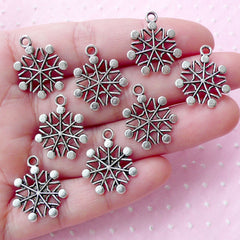 Silver Snow Flake Charms (8pcs / 17mm x 20mm / Tibetan Silver / 2 Sided) Christmas Charm Favor Decoration Gift Packaging Wine Charm CHM1786