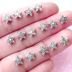CLEARANCE Tiny Star Beads (15pcs / 7mm / Tibetan Silver / 2 Sided) Mini Hole Metal Bead Loose Bead Celestial Jewelry Bracelet Necklace Beading CHM1802
