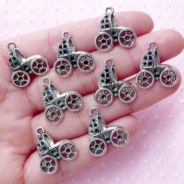 Baby Trolley Charm Baby Carriage Charms Baby Stroller Charm Baby Pram Charm (8pcs / 17mm x 19mm / Tibetan Silver) Baby Shower Decor CHM1807