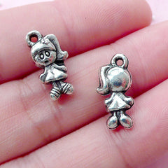 Little Girl Charms (10pcs / 8mm x 16mm / Tibetan Silver / 2 Sided) Baby Shower Party Decoration Favor Charm Jewellery for Daughter CHM1810