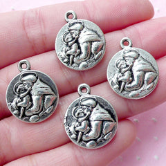 Mother and Daughter Cameo Charms (4pcs / 16mm x 20mm / Tibetan Silver / 2 Sided) Baby Shower Favor Charm Jewellery for Mom Keychain CHM1796