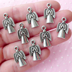 Silver Angel Charms (8pcs / 11mm x 19mm / Tibetan Silver) Catholic Christian Church Mini Christmas Ornament Baptism Favor Decoration CHM1797