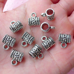 Charm Holders Charm Hanger (10pcs / 7mm x 9mm / Tibetan Silver) European Bracelet Necklace Pendant Bail Bead Ethnic Jewelry Keychain CHM1798