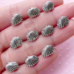 Shell Bead (10pcs / 10mm x 8mm / Tibetan Silver / 2 Sided) Small Hole Bead Loose Bead Marine Life Sealife Sea Ocean Beach Bracelet CHM1801