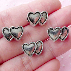 CLEARANCE Double Heart Beads (4pcs / 14mm x 9mm / Tibetan Silver / 2 Sided) European Bead Bracelet Necklace Wedding Valentines Day Jewellery CHM1803