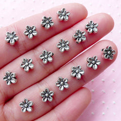 Tiny Flower Beads (16pcs / 7mm / Tibetan Silver / 2 Sided) Mini Hole Bead Loose Metal Bead Floral Jewelry Necklace Bracelet Beading CHM1804