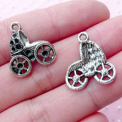 CLEARANCE Baby Trolley Charm Baby Carriage Charms Baby Stroller Charm Baby Pram Charm (8pcs / 17mm x 19mm / Tibetan Silver) Baby Shower Decor CHM1807