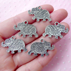 Elephant w/ Flower Motif Charms (5pcs / 24mm x 17mm / Tibetan Silver / 2 Sided) Caparisoned Elephant Animal Baby Shower Favor Charm CHM1817