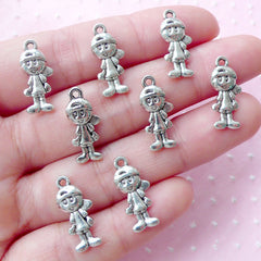 Little Boy Charms (8pcs / 8mm x 18mm / Tibetan Silver / 2 Sided) Baby Shower Favor Charm Party Decoration Family Charm Gift for Mom CHM1830