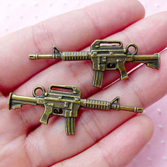 US m4 Rifles Charm (2pcs / 16mm x 45mm / Antique Bronze / 2 Sided) AK47 Assault Rifle Kalashnikov Kalash Military Firearm Weapon Gun CHM1824