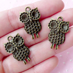 Bronze Owl Charms (3pcs / 16mm x 25mm / Antique Bronze) Bird Necklace Animal Jewellery Zipper Pull Keyring Charm Bag Purse Charm CHM1833