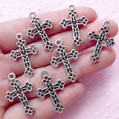 Christian Latin Cross Charm (7pcs / 17mm x 26mm / Tibetan Silver / 2 Sided) Catholic Jewelry Religion Charm Baptism Necklace Pendant CHM1835