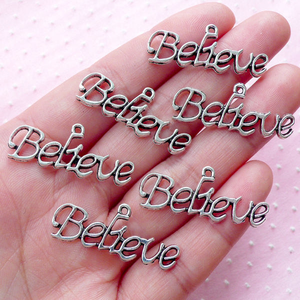Believe Charms (6pcs / 14mm x 32mm / Tibetan Silver) Message Text Word Charm Affirmation Charm Inspirational Charm Bracelet Pendant CHM1844