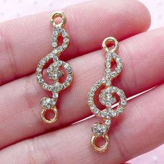 Treble Clef Connector Charm Link with Clear Rhinestones G-clef Charms (2pcs / 9mm x 28mm / Gold) Music Note Jewellery DIY Bracelet CHM1846