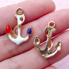 Colorful Anchor Charm (2pcs / 16mm x 22mm / Gold) Nautical Jewelry Ship Yacht Boat Pendant Cruise Travel Charm Bracelet French Style CHM1851