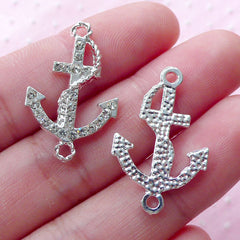 Silver Anchor Link Charm w/ Clear Rhinestones (2pcs / 17mm x 26mm) Nautical Pendant Bling Jewellery Yacht Boat Ship Charm Bracelet CHM1857