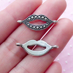 CLEARANCE Open Mouth Link Charms Lips Connector Charm (10pcs / 10mm x 25mm / Tibetan Silver) Happy Smile Dental Kiss Love Bracelet Necklace CHM1862