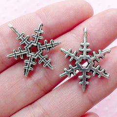 Winter Snowflake Charms Ice Crystal Pendant (8pcs / 18mm x 24mm / Tibetan Silver) Mini Christmas Ornament Key Chain Purse Bag Charm CHM1864