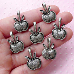 Silver Apple Charms (7pcs / 14mm x 21mm / Tibetan Silver) New York Teacher School Snow White Forbidden Fruit Charm Bookmark Charm CHM1866