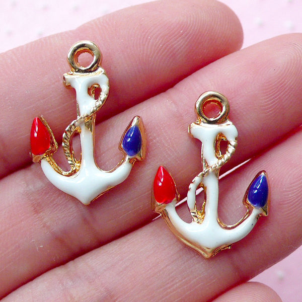 Colorful Anchor Charm 2pcs 16mm x 22mm Gold Nautical Jewelry