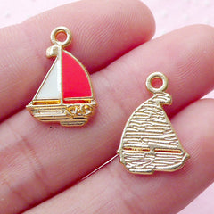 Sailing Yacht Enamel Charms Colored Sailboat Sail Boat Pendant (3pcs / 12mm x 17mm / Gold) Nautical Jewellery Regatta Favor Charm CHM1852