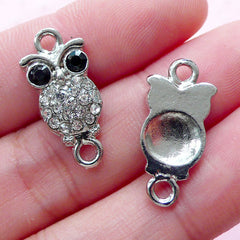 Owl Link Charms w/ Rhinestones (2pcs / 10mm x 22mm / Silver) Bling Bling Animal Jewellery Bird Bracelet Necklace Connector Charm CHM1855