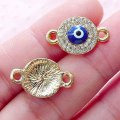 CLEARANCE Rhinestones Evil Eye Link Charms Enamel Connector Charm (2pcs / 11mm x 19mm / Gold) Turkish Stink Eye Good Luck Protective Charm CHM1871