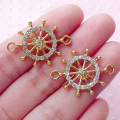Rhinestones Ship Wheel Link Charms Boat Wheel Connector Charm (2pcs / 20mm x 27mm / Gold) Bling Bling Nautical Jewellery Bracelet CHM1873