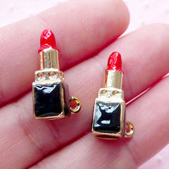 Enameled Lipstick Charms (2pcs / 7mm x 20mm / Gold, Red & Black) 3D Lip Stick Pendant Lady Fashion Beauty Charm DIY Bag Purse Charm CHM1878