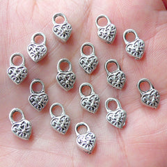 Tiny Heart Lock Charms Miniature Key Lock Charm (15pcs / 6mm x 10mm / Tibetan Silver / 2 Sided) Valentines Day Wedding Favor Charm CHM1888