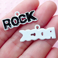 Rock Enamel Charms (2pcs / 11mm x 26mm / Black & White) Music Rock And Roll Jewelry Word Charm Message Charm Key Chain Wine Charm CHM1867