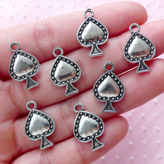 Spade Suit Charms (7pcs / 12mm x 19mm / Tibetan Silver / 2 Sided) Poker Jewelry Playing Card Pendant Las Vegas Alice in Wonderland CHM1887