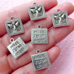 Made for an Angel Charms (6pcs / 14mm x 15mm / Tibetan Silver / 2 Sided) Inspirational Charm Christmas Baptism Baby Shower Favor CHM1890