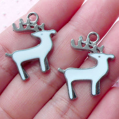 Reindeer Enamel Charms Deer Pendant (2pcs / 21mm x 23mm / Silver & White) Whimsical Jewelry Christmas Animal Charm Party Wine Charm CHM1902
