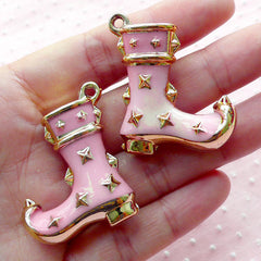 Studded Cowboy Boot Acrylic Charms Shoe Enamel Charm (2pcs / 32mm x 39mm / Gold & Pink / 2 Sided) Kitsch Pendant Country Style CHM1905