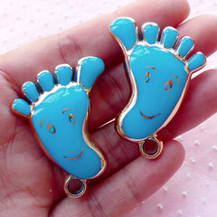 Baby Foot Acrylic Charms Feetprint Enamel Charm (2pcs / 32mm x 41mm / Gold & Blue / 2 Sided) Baby Boy Shower Decor New Mom Jewellery CHM1906