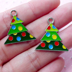 Colorful Christmas Tree Enamel Charms (2pcs / 23mm x 23mm / Silver) Christmas Decoration Party Favor Charm Key Chain Zipper Pull CHM1912