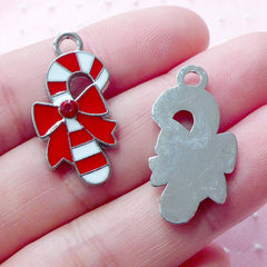 Peppermint Candy Stick Enamel Charm w/ Rhinestone (2pcs / 15mm x 26mm / Silver, Red & White) Christmas Favor Charm Bracelet Necklace CHM1913