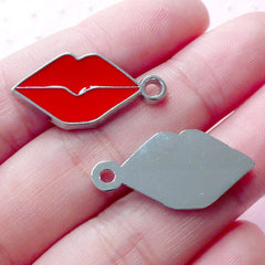Sexy Lips Enamel Charms Kiss Charm (2pcs / 13mm x 25mm / Silver & Red) Whimsical Pendant Necklace Bracelet Earrings Bag Purse Charm CHM1918