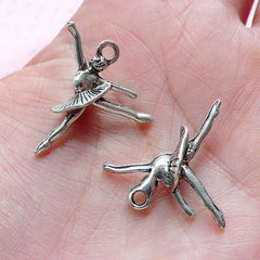 3D Ballet Charms Ballerina Charm (6pcs / 20mm x 25mm / Tibetan Silver) Dancing Lady Charm Whimsical Charm Earrings Pendant Necklace CHM1934
