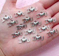 I Heart U Charm I Love You Charm (15pcs / 9mm x 17mm / Tibetan Silver) Valentines Day Gift Decoration Wedding Favor Charm Word Charm CHM1935