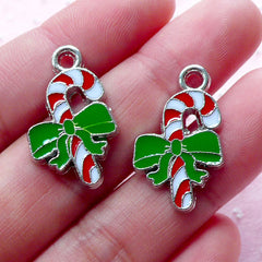Candy Stick Enamel Charms Peppermint Charm (2pcs / 15mm x 24mm / Silver) Mini Christmas Ornament Card Making Party Decor Favor Charm CHM1930