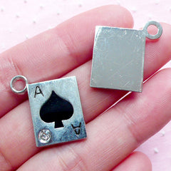 Poker Charm Ace of Spade Charm Playing Card Enamel Charms w/ Rhinestone (2pcs / 19mm x 22mm / Silver & Black) Alice in Wonderland CHM1940
