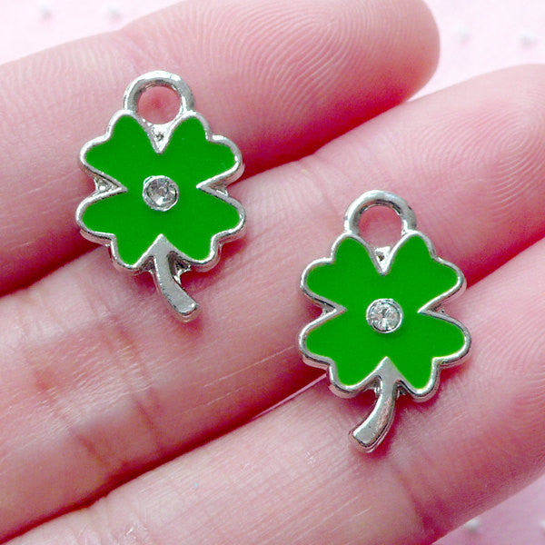 4 Leaf Clover Enamel Charms w/ Rhinestone (2pcs / 12mm x 18mm / Silver & Green / 2 Sided) Good Luck Jewelry Bracelet Bookmark Charm CHM1944